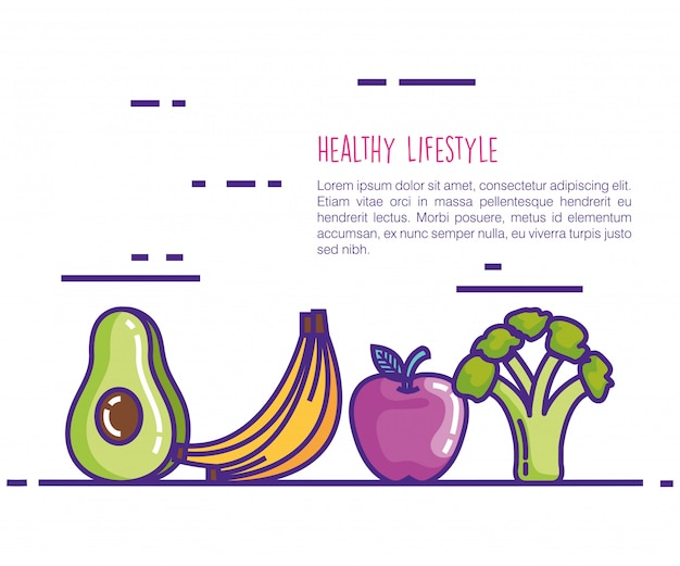 Gezonde voeding levensstijl pictogrammen Gratis Vector