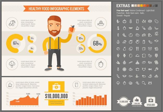 Gezonde voeding platte ontwerp infographic sjabloon en pictogrammen instellen Premium Vector
