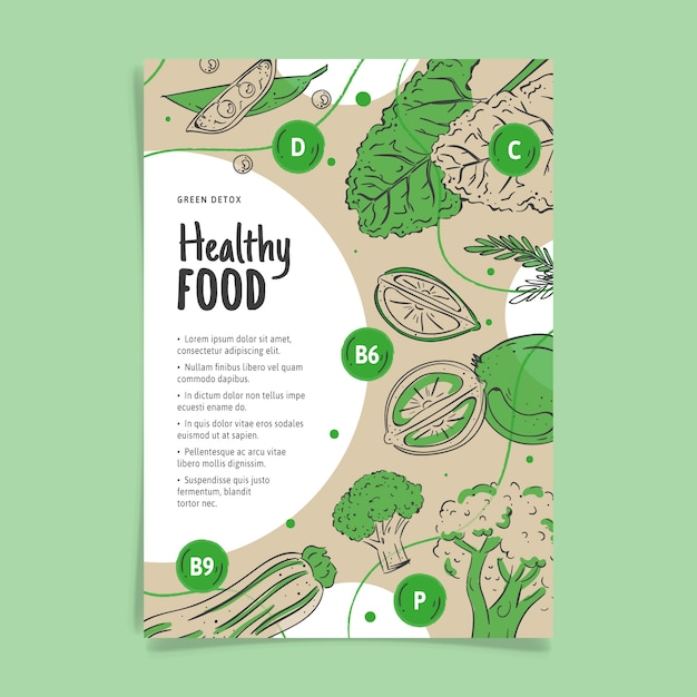 Gezonde voeding poster sjabloon Gratis Vector