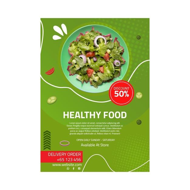 Gezonde voeding poster sjabloon Premium Vector