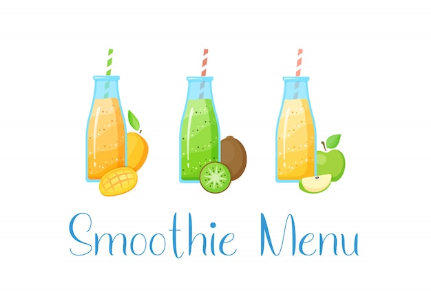 Gezonde voeding rauw fruit smoothie drankje collectie Premium Vector