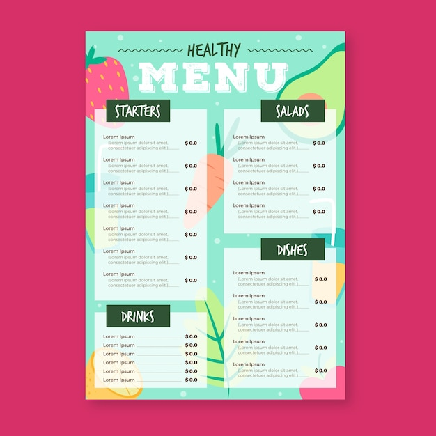 Gezonde voeding restaurant menusjabloon Gratis Vector