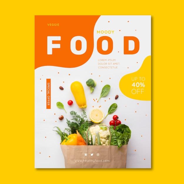 Gezonde voeding restaurant poster met foto Gratis Vector