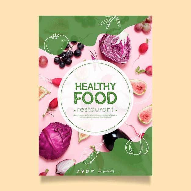 Gezonde voeding restaurant poster sjabloon Gratis Vector