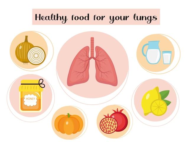 Gezonde voeding voor je longen. concept van voedsel en vitamines, medicijnen, preventie van aandoeningen van de luchtwegen. Premium Vector