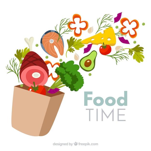 Gezonde voedselachtergrond met vlak ontwerp Gratis Vector