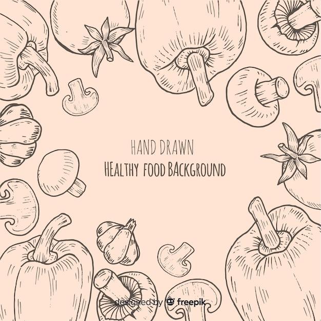 Gezonde voedselachtergrond Gratis Vector