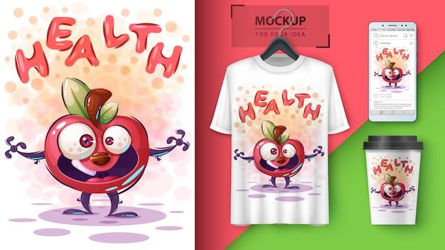 Gezondheid appel poster en merchandising Premium Vector