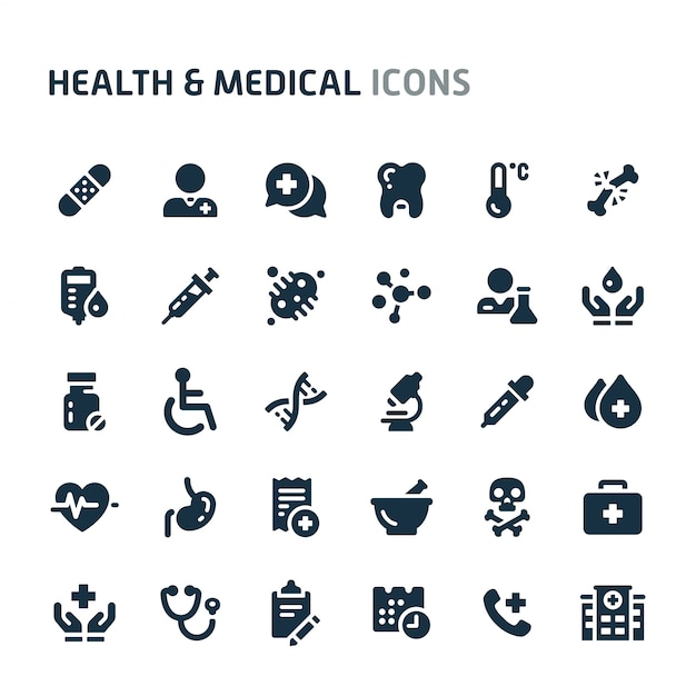 Gezondheid en medisch icon set. fillio black icon-serie. Premium Vector
