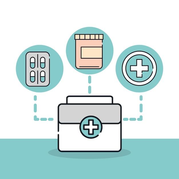 Gezondheid medische koffer eerste hulp geneeskunde illustratie lijn en vulling Premium Vector