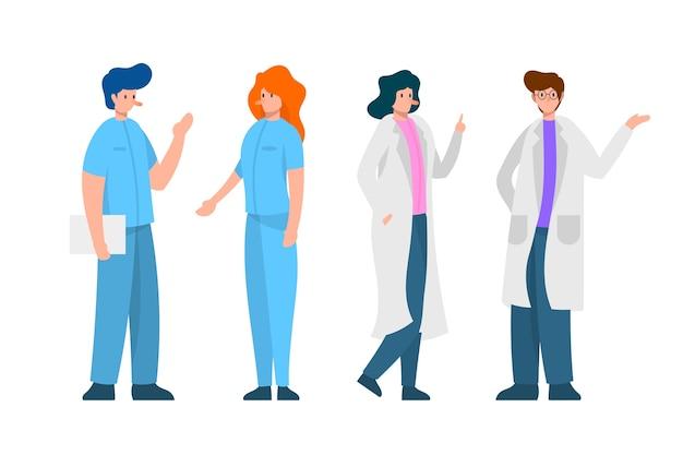 Gezondheid professioneel team praten Gratis Vector