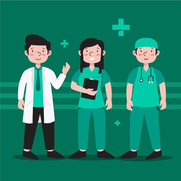Gezondheid professioneel teamthema Gratis Vector