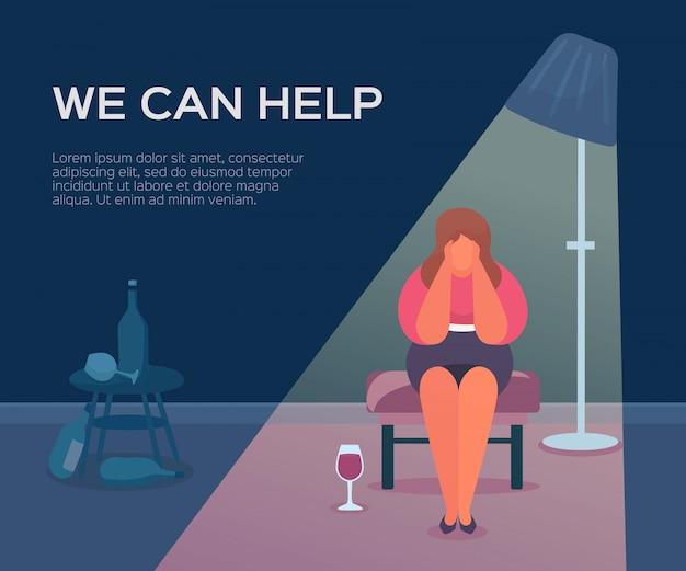 Gezondheid van mensen, psycholoog die we kunnen helpen, illustratie. sessietherapie voor patiëntengroep, psychologie vrouwelijke ondersteuning. Premium Vector