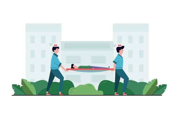 Gezondheid, zorg, geneeskunde, teamwork, hulpconcept. paramedicus team van jonge man vrouw artsen verplaatsen met gewonde zieke patiënt op brancard naar ambulance auto. levens redden of noodgeval bellen. Premium Vector