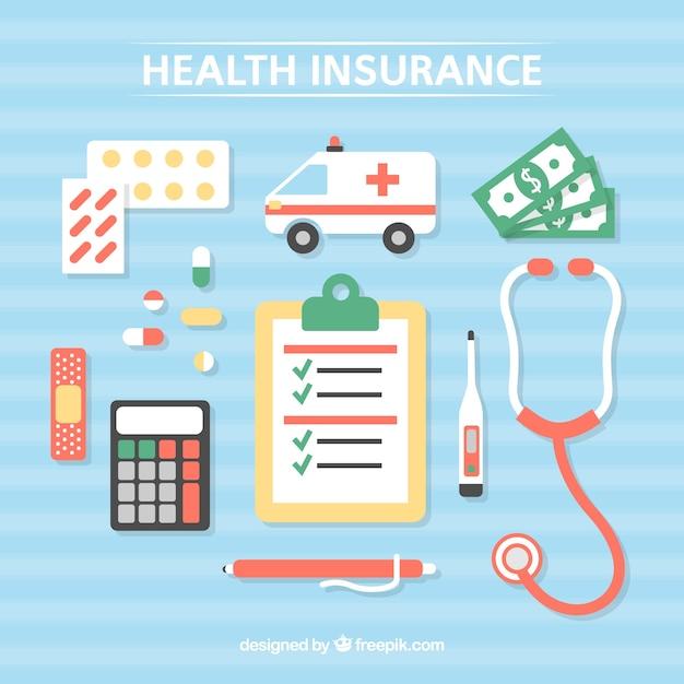 Gezondheidselementen en medische hulpmiddelen Gratis Vector