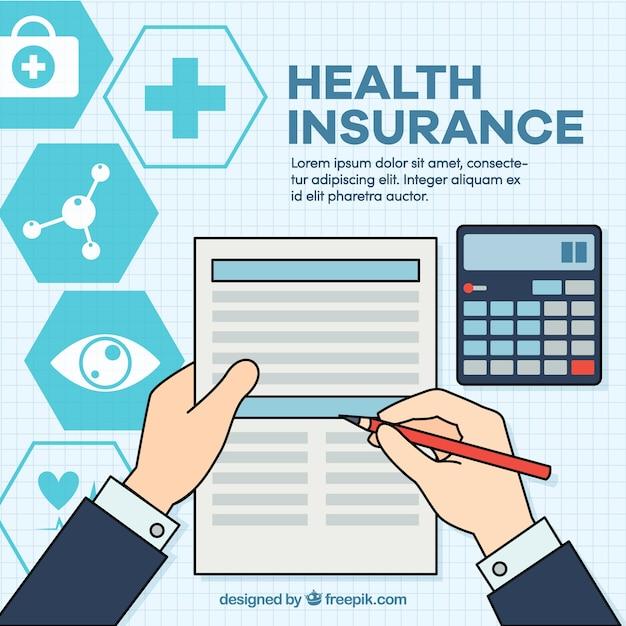 Gezondheidsverzekering's document en claculator Gratis Vector