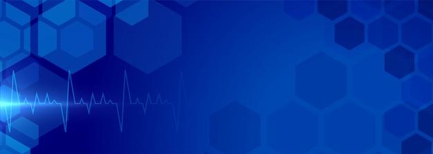 Gezondheidszorg achtergrondbanner met medisch elektrocardiogram Gratis Vector
