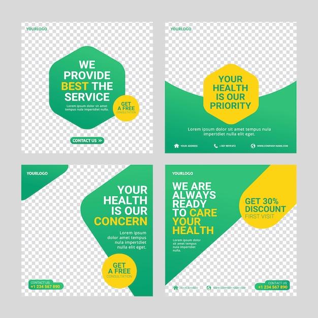 Gezondheidszorg bericht sociale media sjabloon Premium Vector