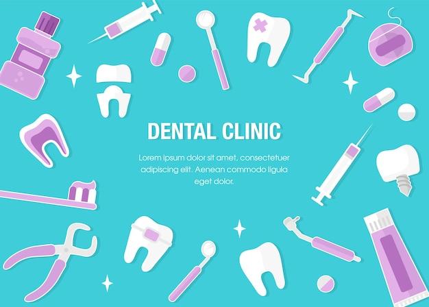 Gezondheidszorg en geneeskundeconcept. tandheelkundebanner met vlakke pictogrammen. tandheelkundige conceptkader. gezonde, schone tanden. tandartsgereedschap en uitrusting. vlakke stijl Premium Vector