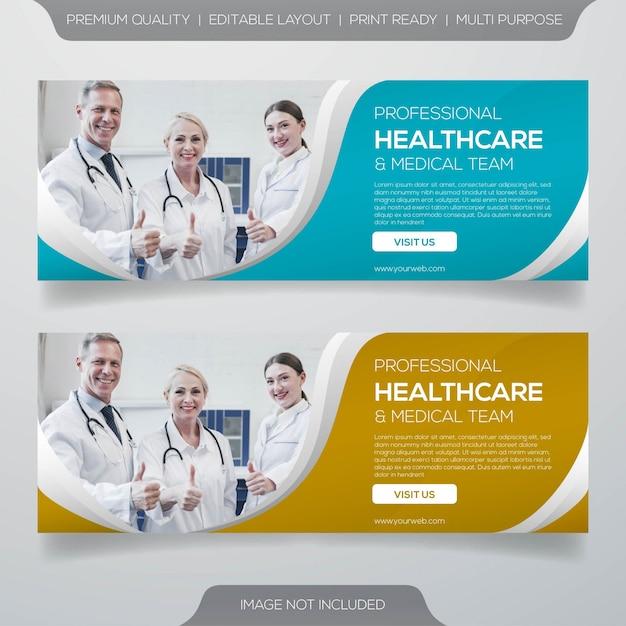 Gezondheidszorg en medisch team bannerontwerp Premium Vector