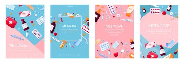 Gezondheidszorg en medische behandeling concept. inzameling van apotheekdrug. medicijn en pil. ehbo-kit concept. illustratie. set van web poster illustratie Premium Vector