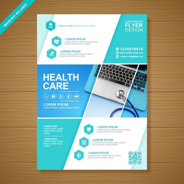 Gezondheidszorg en medische dekking a4 flyer ontwerpsjabloon Premium Vector
