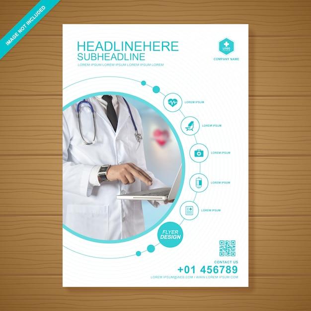 Gezondheidszorg en medische dekking flyer ontwerpsjabloon Premium Vector