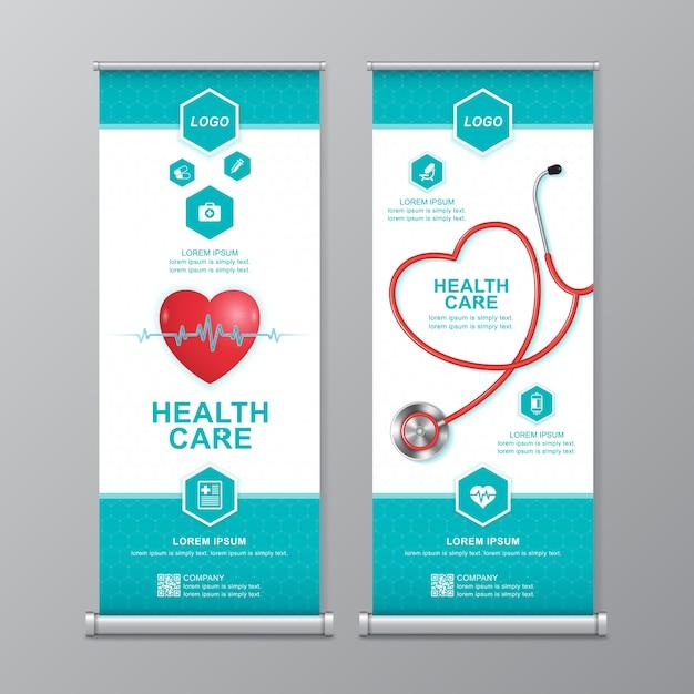 Gezondheidszorg en medische roll-up en standee-sjabloon Premium Vector