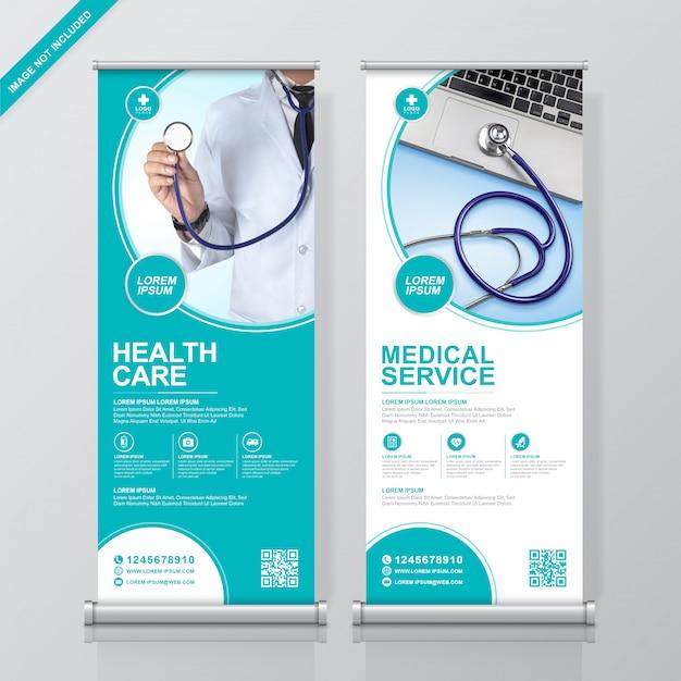 Gezondheidszorg en medische rollup en staande banner ontwerpsjabloon Premium Vector