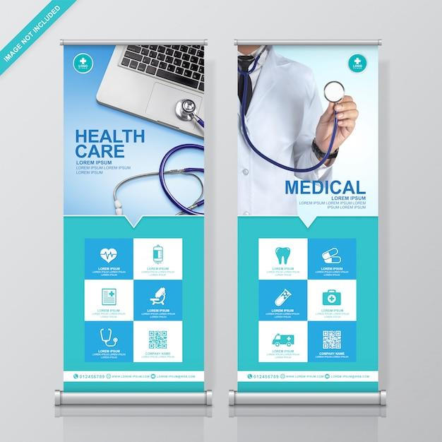 Gezondheidszorg en medische samenvoeging en standee ontwerpsjabloon Premium Vector