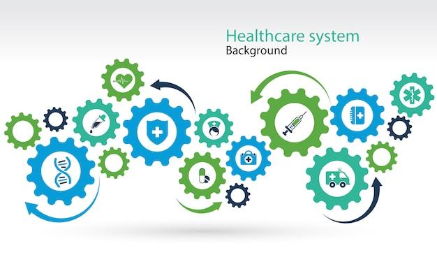 Gezondheidszorg mechanisme systeemachtergrond Gratis Vector