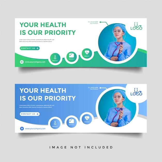 Gezondheidszorg & medische banner promotie sjabloon Premium Vector