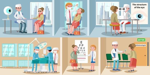 Gezondheidszorg oogheelkunde horizontale banners Gratis Vector
