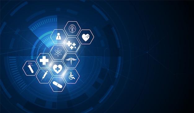 Gezondheidszorg pictogram patroon medische innovatie achtergrond Premium Vector