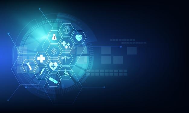 Gezondheidszorg pictogram patroon medische innovatie achtergrondontwerp Premium Vector