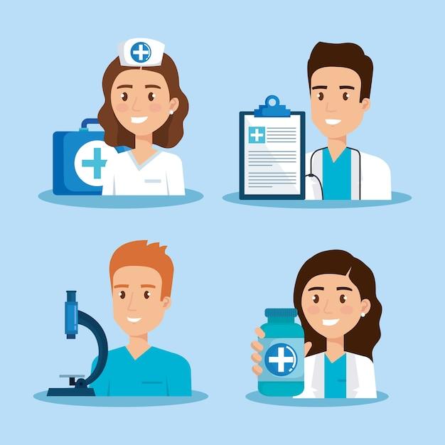 Gezondheidszorg pictogrammen en medisch personeel tekens Premium Vector