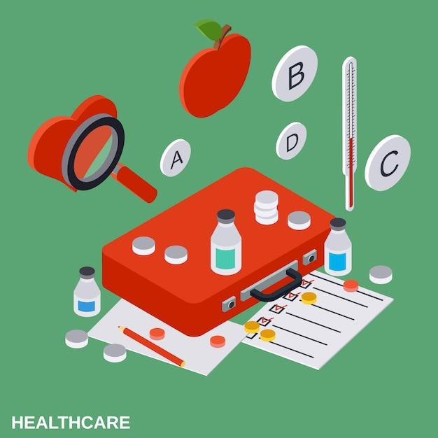 Gezondheidszorg platte isometrische concept illustratie Premium Vector