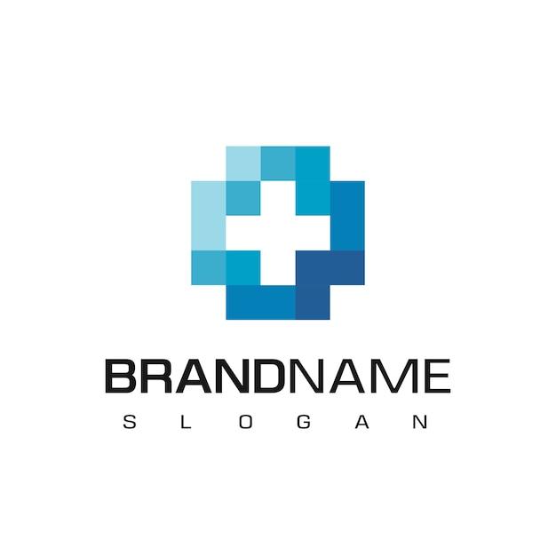 Gezondheidszorg, ziekenhuis logo met kruis symbool Premium Vector