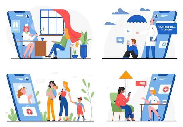 Gezondheidszorggeneeskunde online service, arts en patiënt illustratie set. Premium Vector