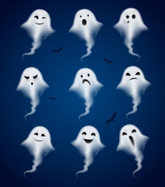 Ghost emoties realistische pictogrammen instellen Gratis Vector