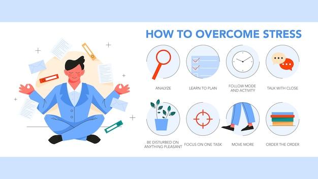 Gids voor het overwinnen van stress. depressie verminderen instructietips. door oefening en planning te maken, helpt communicatie om de stressvolle toestand te verminderen. illustratie Premium Vector