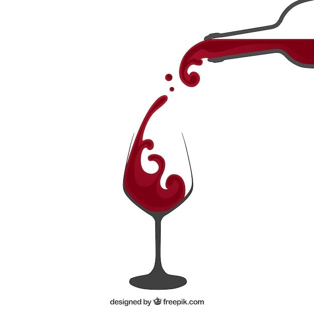 Gieten rode wijn Gratis Vector