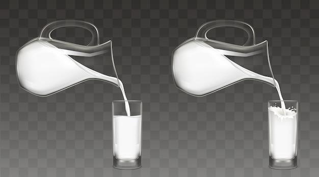 Gietende melk van kruik in glasvector Gratis Vector