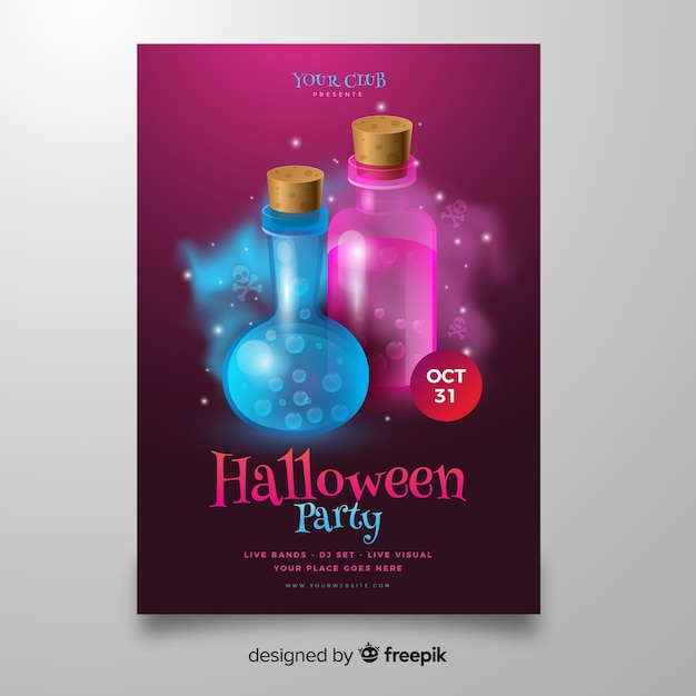 Gif in flessen halloween poster sjabloon Gratis Vector