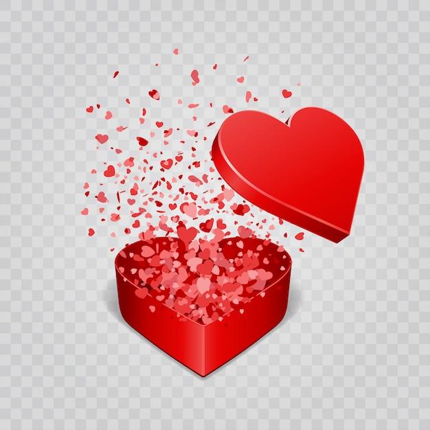 Giftdoos en hartenconfettien op transparantie vectorillustratie worden geïsoleerd die als achtergrond Premium Vector