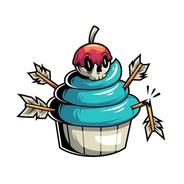 Giftige en dodelijke cupcake Premium Vector