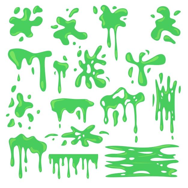 Giftige verschillende groene slijm platte set Gratis Vector