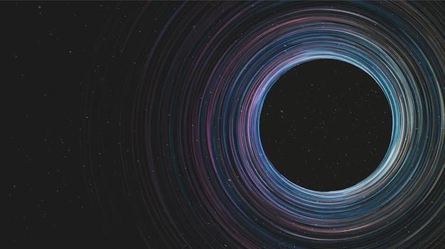 Gigantisch spiraalvormig zwart gat op galaxy-achtergrond. conceptontwerp van planeet en natuurkunde, vectorillustratie. Premium Vector