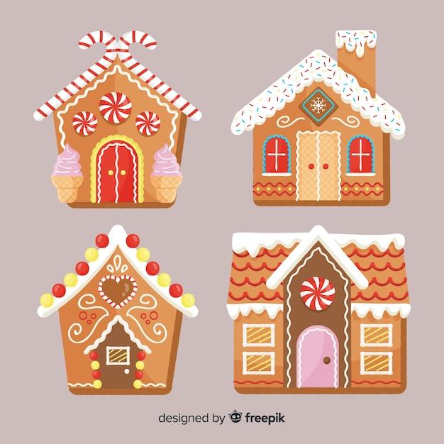 Gingerbread cabinepakket Gratis Vector