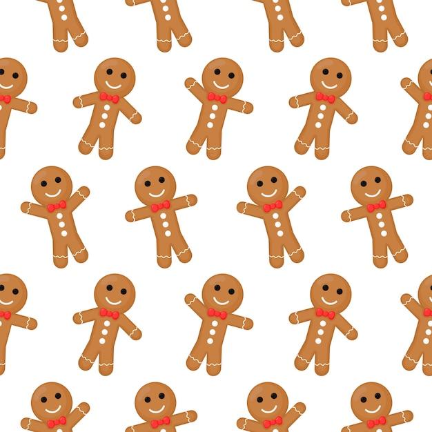 Gingerbread man christmas naadloze patroon. koekjes op witte achtergrond worden geïsoleerd die. Premium Vector